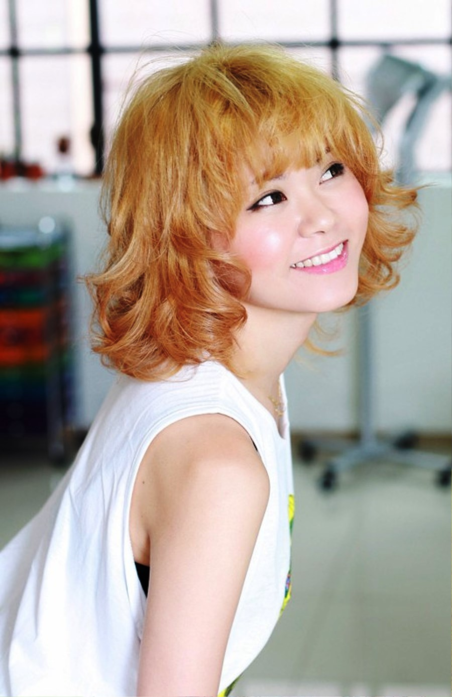 Pictures of Sweet Short Blonde Curly Hairstyle With Bangs