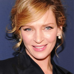 Uma Thurman Sweet Bobby Pinned Updo With Side Swept Bangs