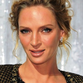Uma Thurman Wavy Curly Updo Hairstyle