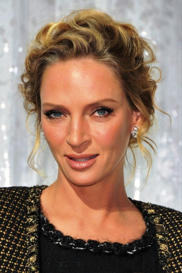 Uma Thurman Wavy Curly Updo Hairstyle Behairstyles.com