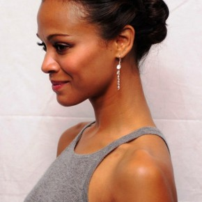 Zoe Saldana Cute Casual Updo Hairstyle