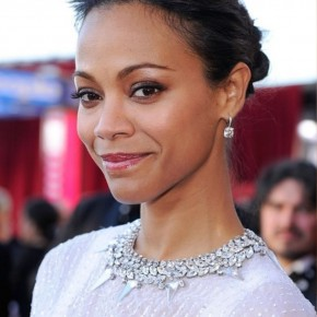Zoe Saldana Loose Bun Updo For Thin Hair