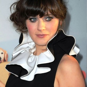 Zooey Deschanel Glamor Messy Updo With Bangs