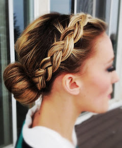 Front to back braided bun hairstyle
