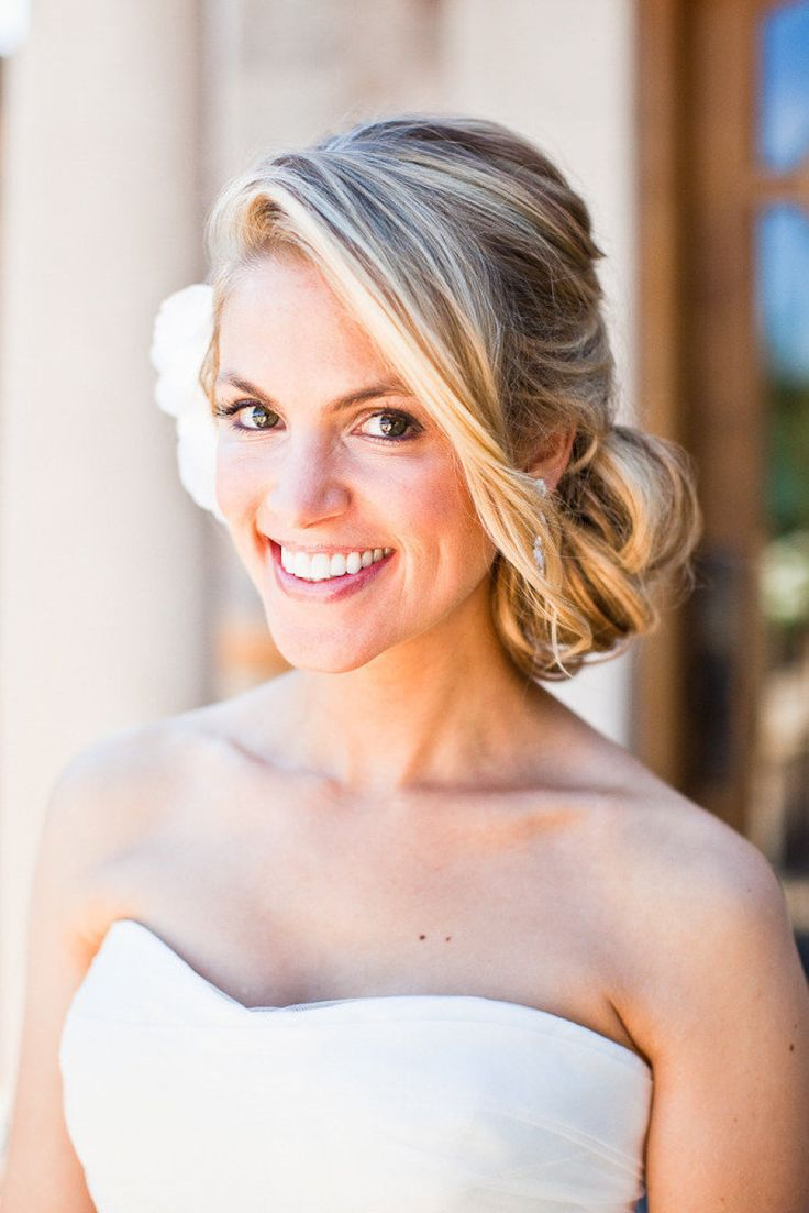 pictures of wedding hairstyles messy side bun