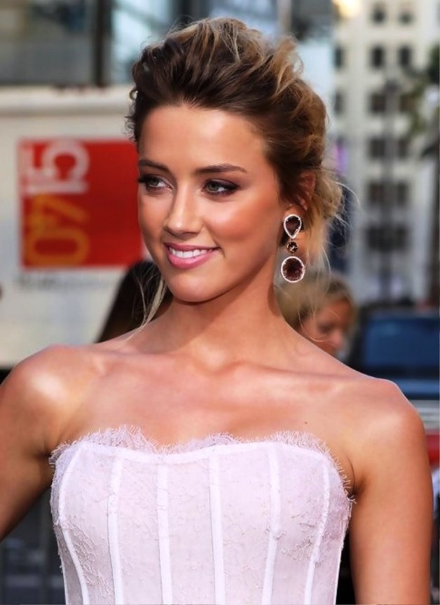 Amber Heard Messy French Twist Updo Behairstyles