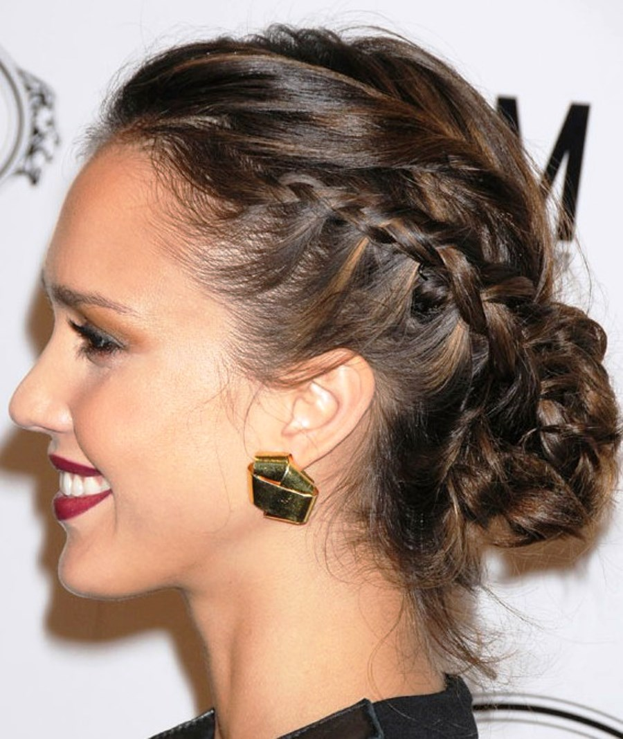 pictures of braided bun updo hairstyle