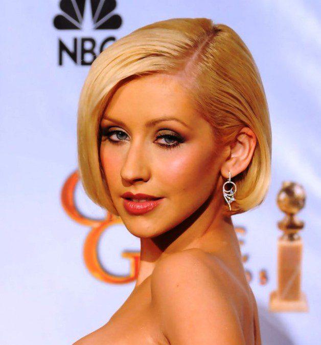 Christina Aguilera Short Straight Bob Haircut