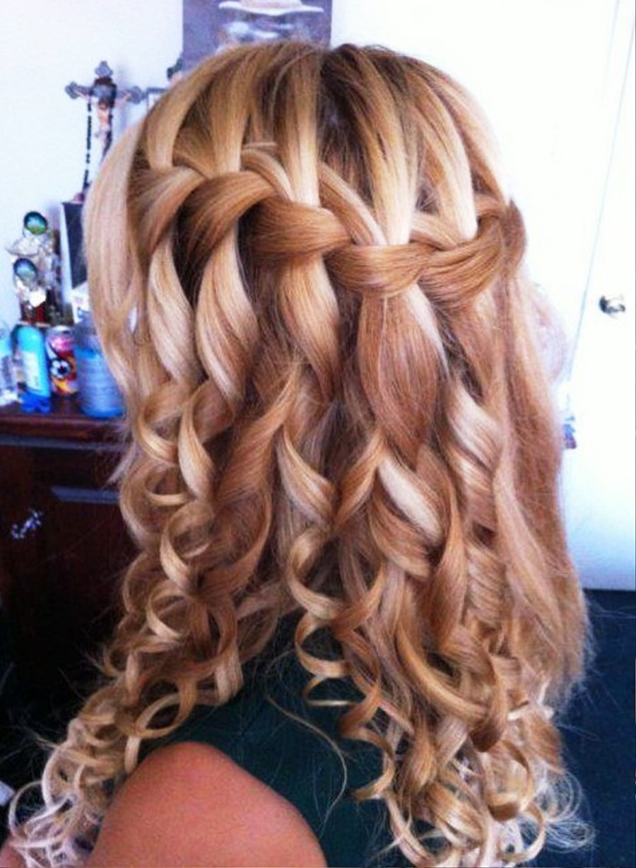 pictures of curly waterfall braid hairstyle