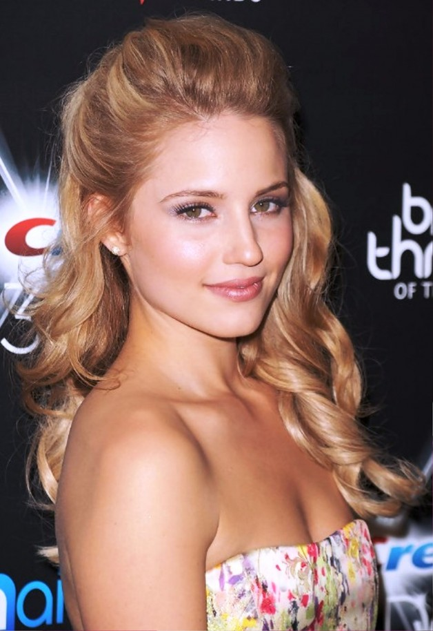 Dianna Agron Half Up Half Down Prom Hairstyle Behairstyles