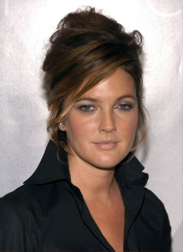Drew Barrymore French Twist Updo Haircut Behairstyles