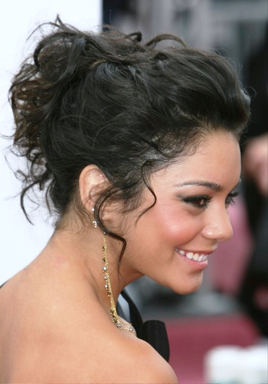 pictures of elegant curly messy wedding updo