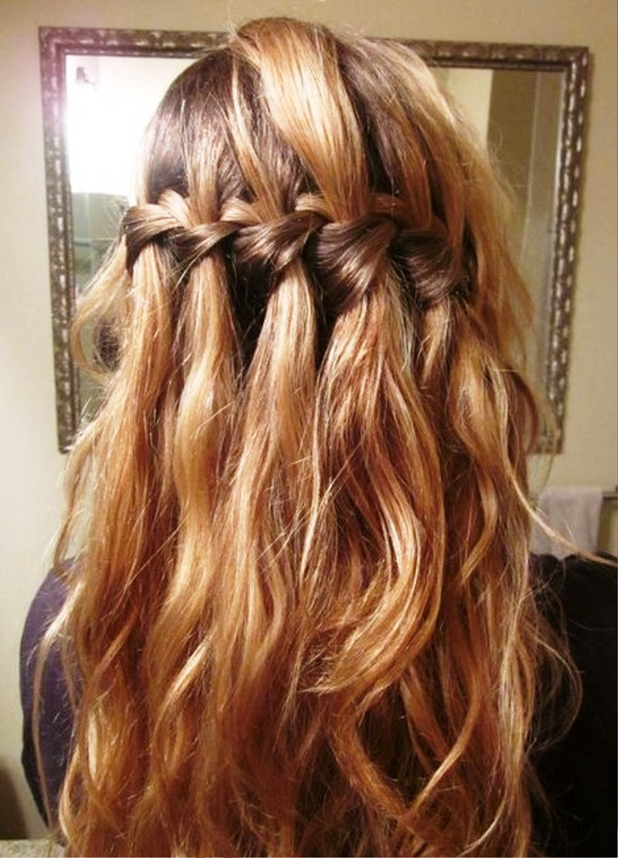pictures of elegant waterfall braid hairstyles for curly hair