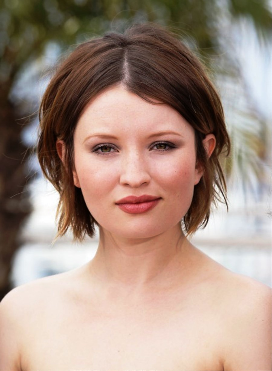 Pictures Of Emily Browning Center Parted Hairstyle