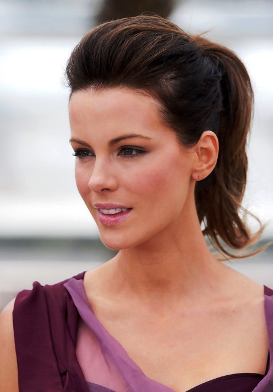 Kate Beckinsale Simple Easy Ponytail Hairstyle Hairstyles Ideas