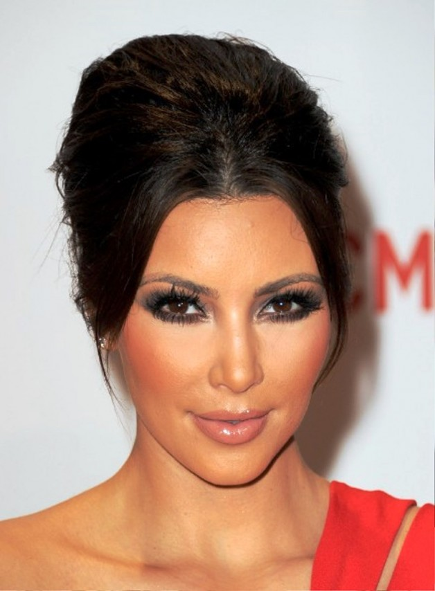 Kim Kardashian Formal French Twist Updo Hairstyle Behairstyles