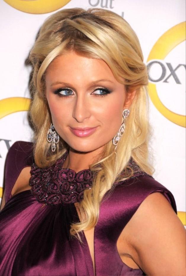 Paris Hilton Elegant Long Blonde Half Up Half Down Hairstyle