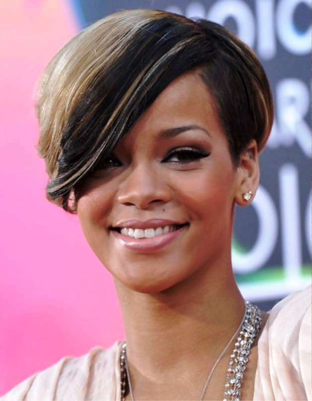 Rihanna Short Haircut With Side Swept Bangs Behairstyles