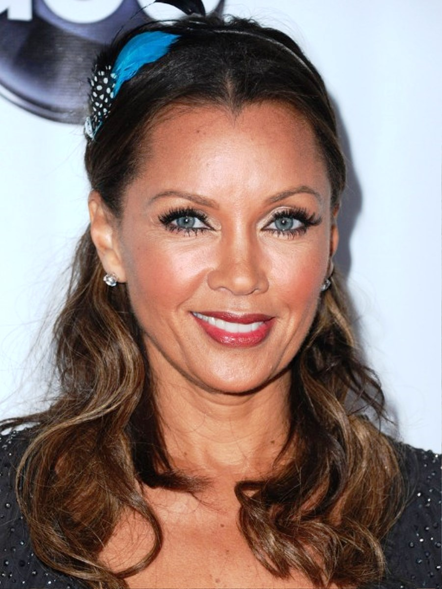pictures of vanessa williams wavy curly half up half down hairstyle